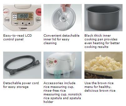 Zojirushi Micom Rice Cooker NS-WAC10WB NS-WAC18WB Features